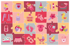 Newborn Baby girl icons set.Baby shower puzzle Royalty Free Stock Photo