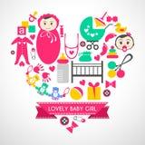 Newborn baby girl icons set Stock Photos