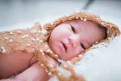 Newborn baby girl infant sleeping royalty free stock photography