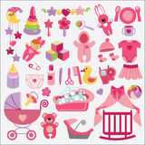 Newborn Baby-girl items set collection.Baby shower. A set of cute items for Newborn Baby-girl.Baby cartoon icons for little girl .Baby shower  design elements Royalty Free Stock Photography