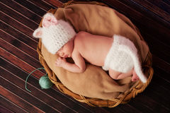 Newborn Baby Girl in Kitten Costume. Overhead view of a 13 day old newborn baby girl wearing a white, crocheted kitten costume and sleeping on her tummy in a stock photos