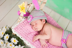 Newborn baby girl in a knitted hare costume sleeping on a wooden crib birch Royalty Free Stock Images