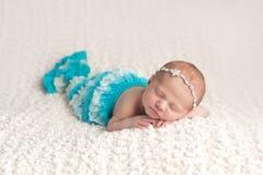 Newborn Baby Girl in a Mermaid Costume Stock Photography