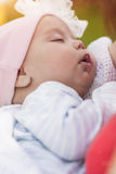 Newborn Baby Girl on Mothers Hands Stock Images