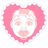 Newborn baby girl with pacifier. Portrait in a frame in the form of a heart. stock illustration