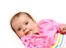 Newborn baby girl on pillow Royalty Free Stock Photo
