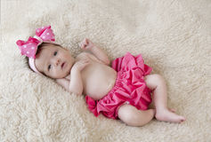 Newborn Baby Girl In Pink Royalty Free Stock Photography