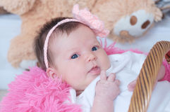 Newborn baby girl in pink blanket lying in basket, cute portrait. Card composition stock photo