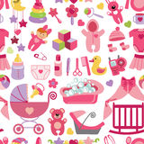 Newborn Baby girl seamless pattern Stock Photo