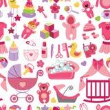 Newborn Baby girl seamless pattern Stock Photo