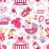 Newborn Baby girl seamless pattern Royalty Free Stock Photography