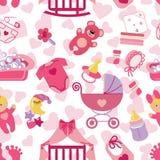 Newborn Baby girl seamless pattern Royalty Free Stock Photography