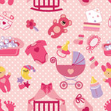Newborn Baby girl seamless pattern.Polka dot Royalty Free Stock Image