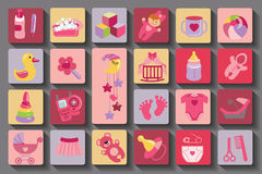 Newborn Baby girl set.Flat Icons with long shadow Stock Photo