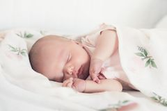 Newborn baby sleep first days of life at home. stock photo