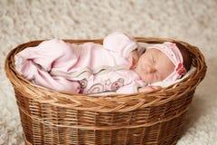 Newborn baby girl sleeping in basket. Newborn baby girl sleeping in basket Stock Photography