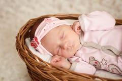 Newborn baby girl sleeping in basket. Newborn baby girl sleeping in basket Stock Photo