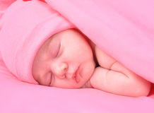 Newborn Baby Girl Sleeping with Blanket and Hat. A newborn baby girl is sleeping on a pink background with a blanket. She is wearing a hat. Use it for a Royalty Free Stock Photography