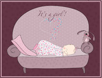Newborn Baby Girl Sleeping Card Stock Photos