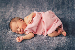 Newborn baby girl sleeping Royalty Free Stock Images