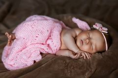 Newborn baby girl sleeping cute, covered with soft pink scarf, neatly folded under a pen with a small head with a pink bow, set stock photo