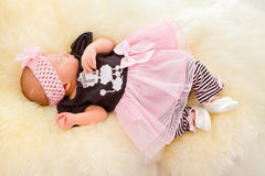 Newborn Baby Girl Sleeping on Fluff Royalty Free Stock Images