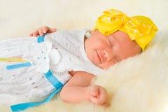 Newborn Baby Girl Sleeping on Fluff Royalty Free Stock Images