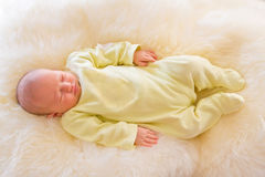 Newborn Baby Girl Sleeping on Fluff Royalty Free Stock Photography