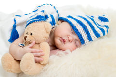 Newborn baby girl sleeping Stock Images