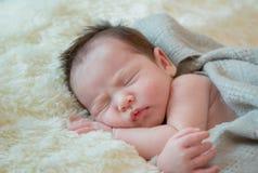baby girl is sleeping on fur blanket royalty free stock image