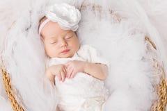 Newborn Baby Girl, Sleeping New Born Kid in White, Beautiful Infant Portrait stock photo