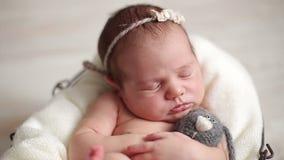 Newborn baby girl sleeping stock video