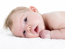 Newborn Baby Girl On Towel Royalty Free Stock Photos