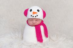 Free Newborn Baby Girl Wearing A Snowgirl Costume Stock Image - 112853761