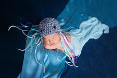 Newborn Baby Girl Wearing a Jellyfish Costume Stock Photography