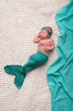 Newborn Baby Girl Wearing Mermaid Costume Royalty Free Stock Photography