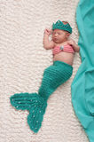 Newborn Baby Girl Wearing Mermaid Costume Royalty Free Stock Photos