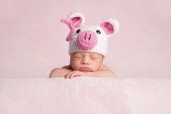 Newborn Baby Girl Wearing Piglet Costume Royalty Free Stock Image