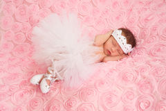 Newborn Baby Girl Wearing a White Ballerina Tutu. Newborn baby girl wearing a white crocheted crown, ballerina tutu, and ballet slippers. She is sleeping on pink Royalty Free Stock Photo