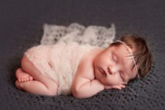 Newborn baby girl in white shawl set Royalty Free Stock Images