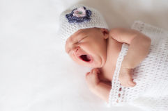 Newborn Baby Girl Yawning Royalty Free Stock Photo
