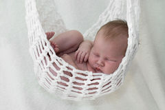Newborn baby  in hammock Stock Photo