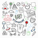 Newborn Baby Hand Drawn Doodle with Toys, Boy and Sketchy Elements. Baby Shower Patches Royalty Free Stock Photos
