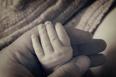 Newborn baby hand Stock Photo