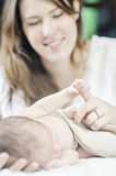 Newborn baby hand Stock Photography