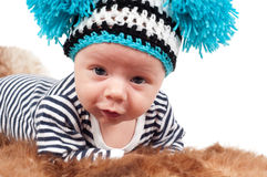 Newborn baby with hat Stock Photography