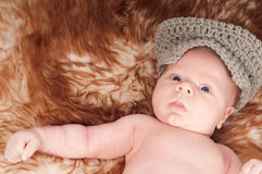 Newborn baby in hat Royalty Free Stock Photography