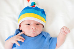 Newborn baby in a hat Royalty Free Stock Image