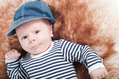 Newborn baby in hat Royalty Free Stock Image