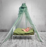 Newborn baby in hat sleeping on little bed with canopy Royalty Free Stock Photo